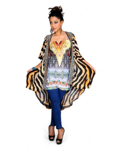 Tiger Print Embellished Cape