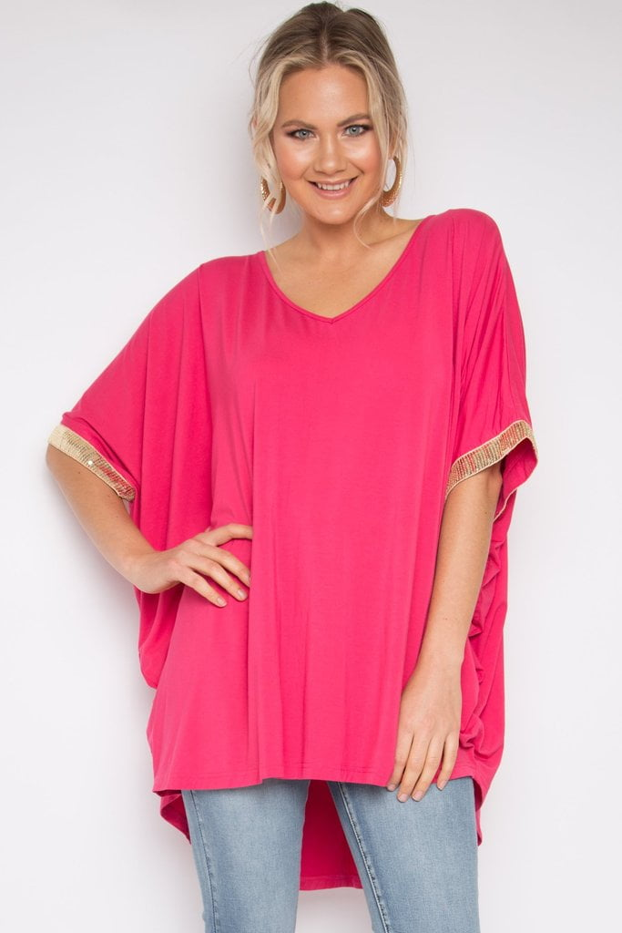 Sequinned Hi Low Miracle Top (BAMBOO)