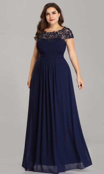 Plus Size Open Back Evening Dress