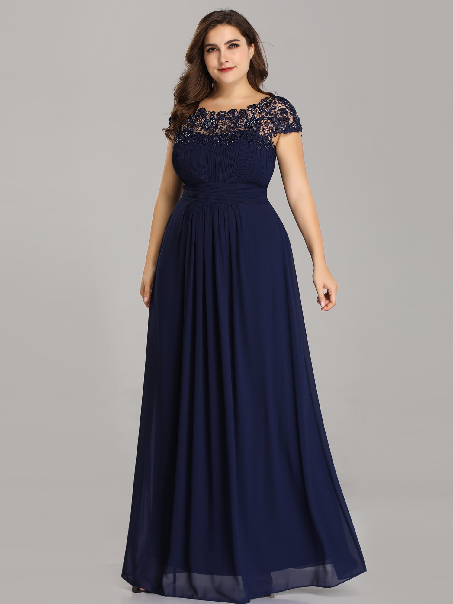 Plus Size Open Back Evening Dress