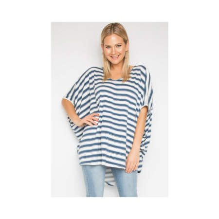 Hi Low Miracle Top In Silver Navy Stripe