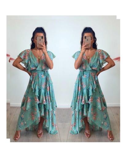 Floral Frill Maxi Dress