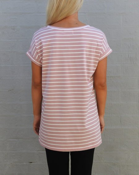 Pink and White Stripe Tee