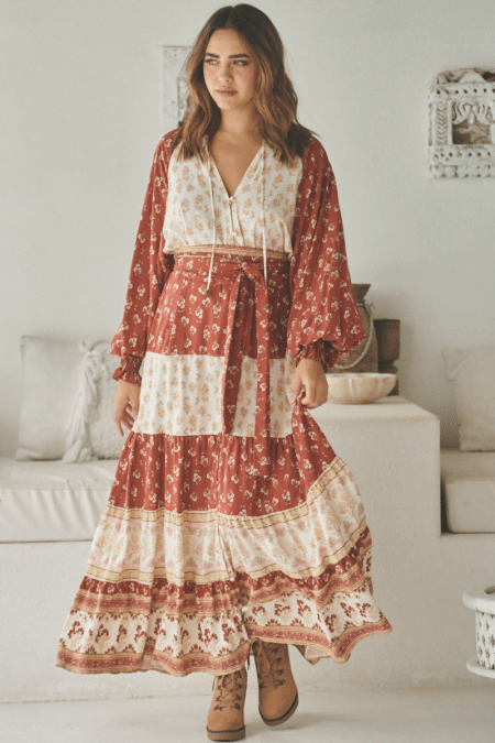 Jaase Rust Lily Of The Valley Elizabeth Maxi Dress