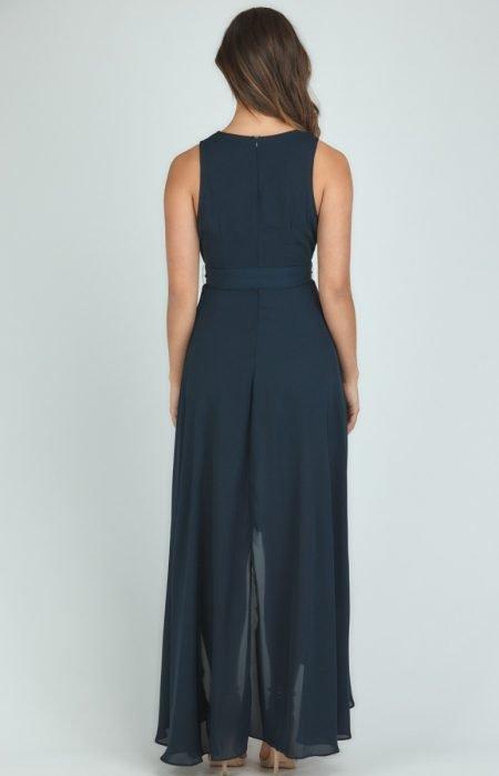 Navy Waterfall Maxi Dress